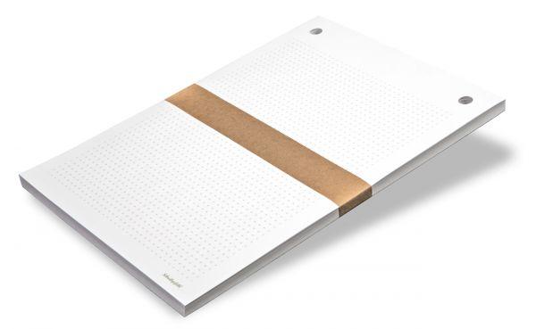 """Der bereits vorgebohrte Nachfüllpack """"Holz-Schreibbrett - Meisterstück"""" besteht aus 100 Notizzetteln im Format DIN A4."""