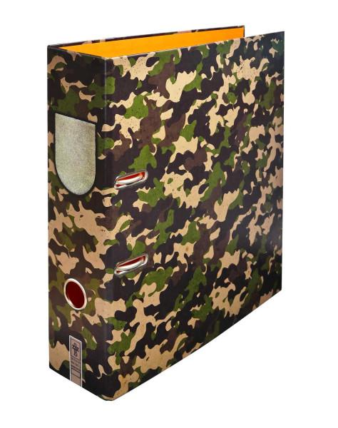 Ein Motivordner für Abenteuer – spannendes Camouflage für dein Regal.