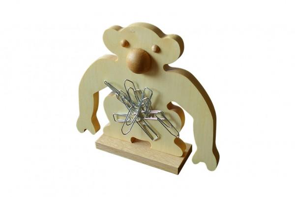 "Büroklammerspender ""Klammeraffe Charlie"" aus Holz | Büroklammerhalter, magnetisch | Vorderansicht"