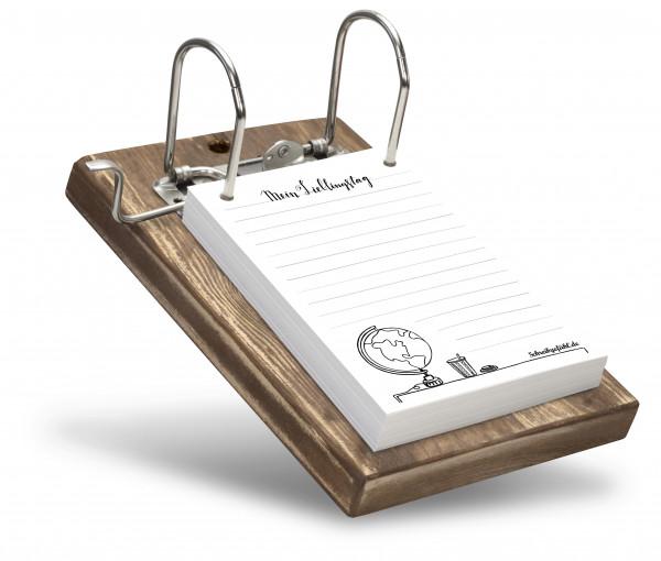 Notizzettelhalter mit zwei sich abwechselnden Notizzettel-Motiven.