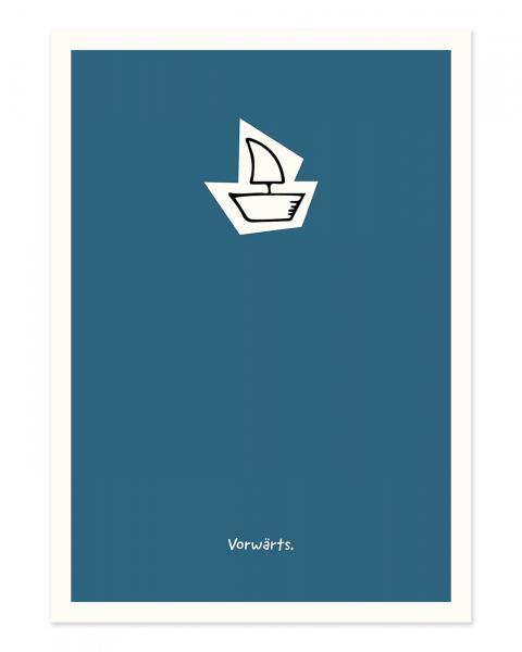 """Das minimalistische Design charakterisiert die Postkarte """"Vorwärts."""""""