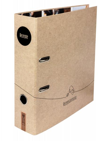"""Der Rezeptordner """"Leckerschmecker"""" überzeugt mit seinem minimalistischen LineArt-Design und der Packpapier-Optik."""
