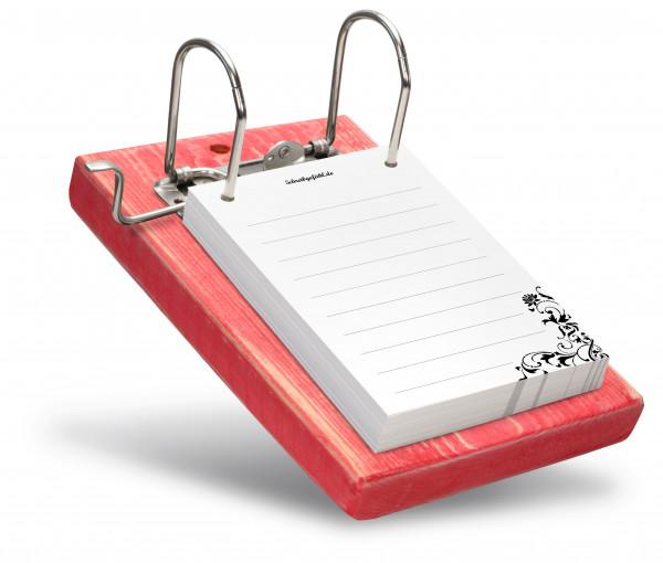 Das schlichte Design der Notizzettel bildet eine schöne Einheit mit der kräftigen Farbe Rot.