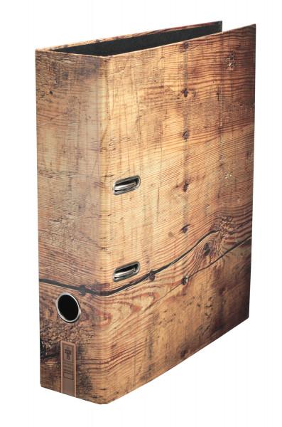 """Der hochwertige Ringbuchordner """"Holzmichl"""" überzeugt durch sein schlichtes und zugleich edles Design mit Holztextur."""