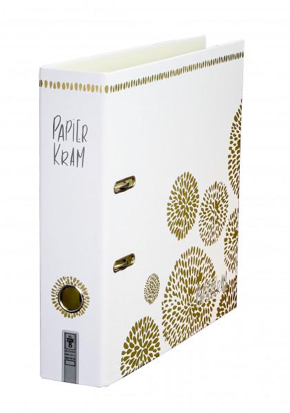 """Der Motivordner """"Papierkram"""" überzeugt mit dem in Gold gedruckten Blumenornament, das zusätzlich mit Glanzfolie veredelt wurde."""