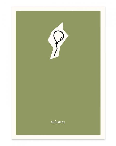 Grüner Hintergrund und die kleine Skizze charakterisieren das Design.