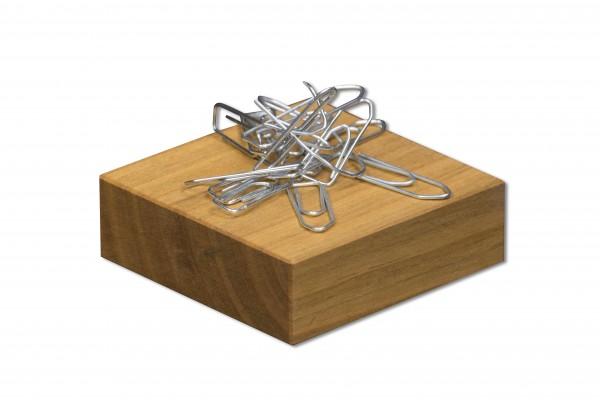 Büroklammerspender aus Holz | Büroklammerhalter, magnetisch | Verwendungsbeispiel
