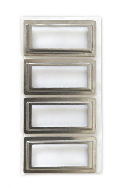Praktische, selbstklebende Metallschilder mit Etiketten zum Beschriften von Motivordnern.