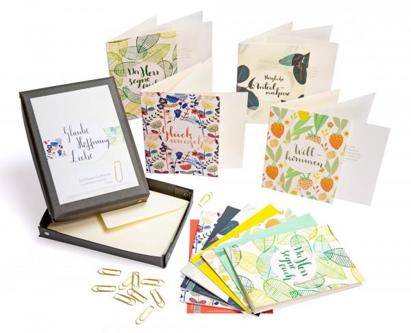 """Das Grußkarten-Set """"Glaube, Hoffnung, Liebe"""" bietet Grußkarten für verschiedene Anlässe."""