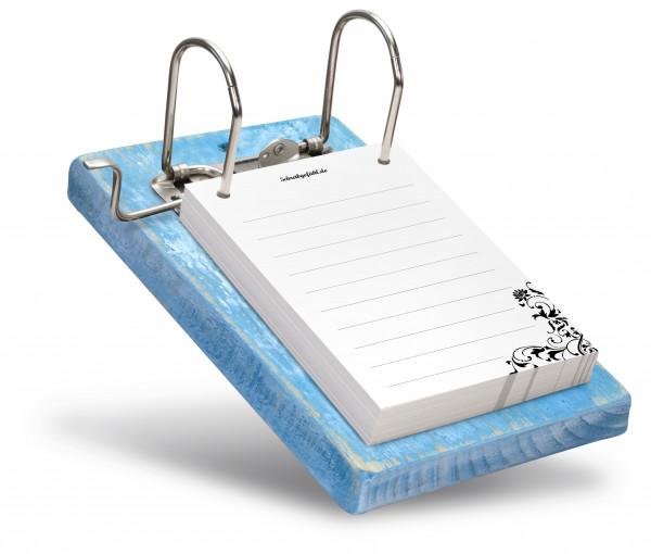 Der Notizblockhalter beinhaltet 100 Blatt gut beschreibbares Papier.
